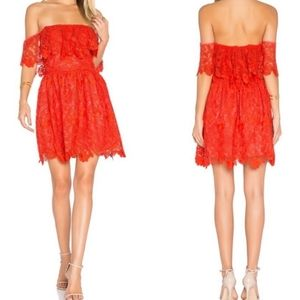 Lover + Friends Red Lace Off the shoulder Dress